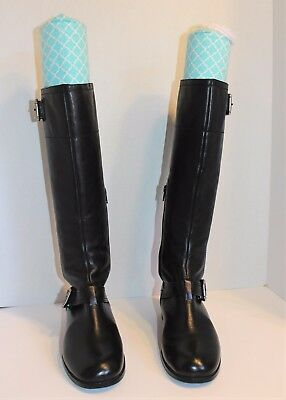 35ce21b41ff Womens Arturo chiang Black Leather Zip Buckle Casual Knee-High Boots US  Size 9M