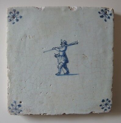 "17th Century DUTCH DELFT TILE ""MAN WITH AN OAR"" (c.1675)"