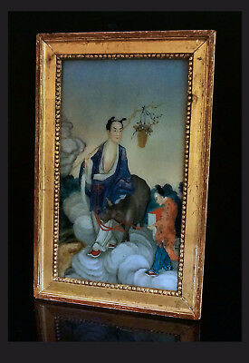 A Chinese Reverse Glass Painting Depicting Zhang Guolao In A Gilt Wooden Frame.