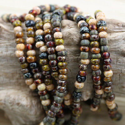 """NEW!!! 6/0 Aged Striped Egyptian Summer Picasso Mix Czech seed beads - 30 g~47"""""""