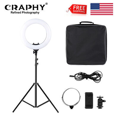 "Craphy 14"" Dimmable LED Ring Light Kit with Light Stand for Camera Photo Video"