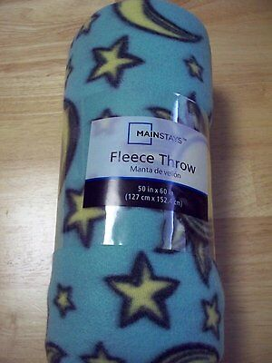 "Mainstay 50"" X 60"" Fleece Celestial Sun, Moon & Stars Blanket"