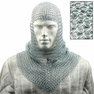 Chainmail Coif Aluminum V-neck Chain mail Hood Medieval Reenacment Armor