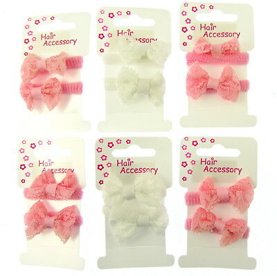 2pc GIRLS HAIR BOWS HAIR BOBBLES HAIR ELASTICS PONIOS BANDS (gp1)