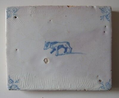 "17th Century DUTCH DELFT BORDER TILE ""DOG"" (RARE SIZE!)"