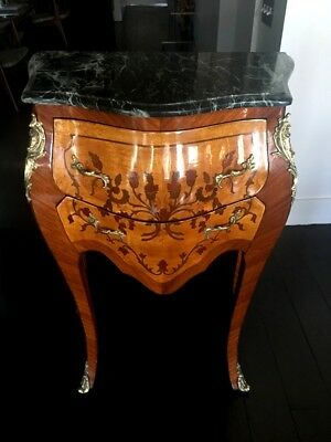 Antique French Louis XV Style, Floral Marquetry Smal Commode Bombe Chest