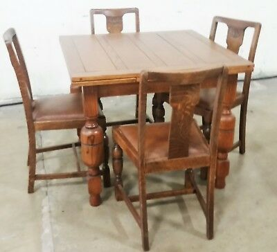 Vintage English Solid Oak Refractory Draw Leaf Table 2 Leaves & 4 Chairs LA AREA