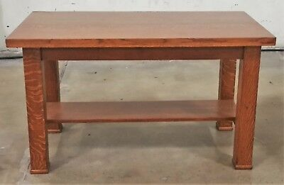 Antique VTG American Tiger Oak Mission Arts & Craft Console Library Table Desk