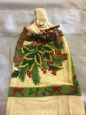 Pine Cones Unique Christ Rare Crochet Top Hanging Kitchen Dish Towel By Laura