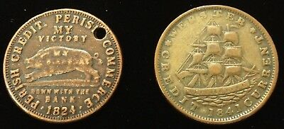 Set of (2) Hard Times Tokens - 1824 and 1841 - Running Boar/Millions for Defense