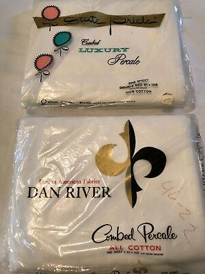 Vintage Sheets 100% Cotton New Dan River State Pride White Made USA Percale