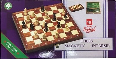 """Intarsie Inlaid Wood Magnetic Chess Set  - 10 1/2"""" board  -  2"""" King"""