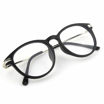 68b3bc001b5 Happy Store CN92 Fashion Keyhole Metal Temple Oval Horn Rimmed Clear Lens  Glasse