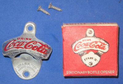Vintage Coca Cola Stationary Wall Mount Bottle Opener Starr X New W/ Box Screws
