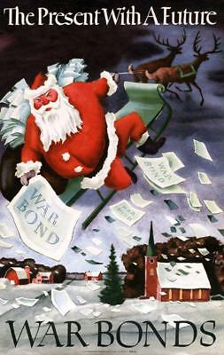 """Large VTG WWII 1942 Present with a Future Santa Claus War Bond Poster 60 x 39"""""""