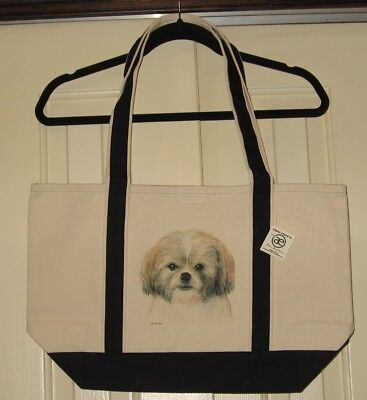 Shih Tzu Large Heavy Canvas Tote Bag-New With Tags - Hand Painted - Very Cute!