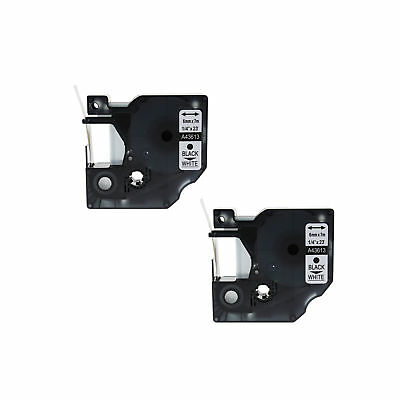"""2PK 43613 Black on White Label Tape For Dymo D1 Labelmanager 100 120P 1/4"""" 6mm"""
