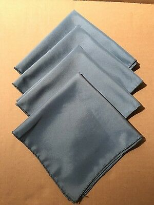 """Blue Polyester Dinner Napkins Cloth/Fabric 17"""" X 17"""" Lot/4 used, good condition"""