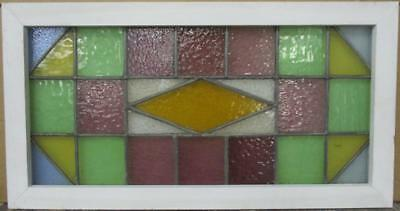 "VICTORIAN ENGLISH LEADED STAINED GLASS WINDOW Stunning Geometric 33.25"" x 17.5"""
