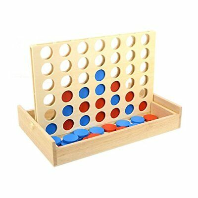TOYMYTOY Four in A Row Wooden Game Classic Convertible Board Game Toys for Famil