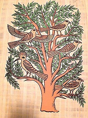 Ancient Egyptian Tree of Life the sacred, mythical Papyrus handmade Art painting