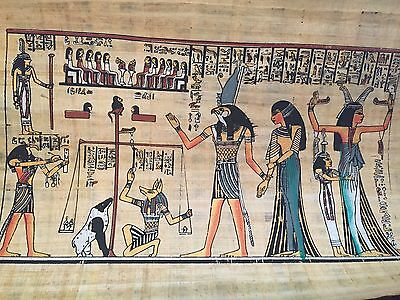 Huge Ancient Egyptian the Judgment Painting on Papyrus from Egypt