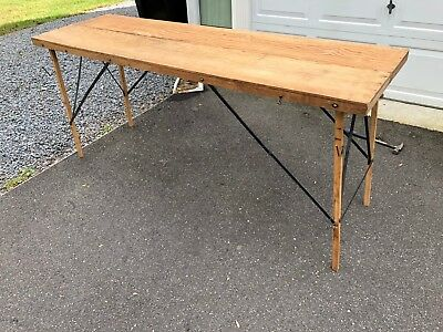 "Vintage Wallpaper Collapsible  Folding  Work  Table ----- 73"" X 12"""