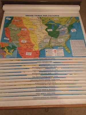 Pull Down 13 Panel Unites States Historical School Classroom Map Native American