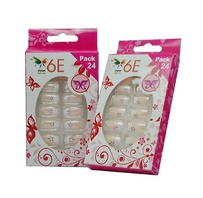 6E Acrylic Nails Set Red Flower Set of 24 Pack of 2