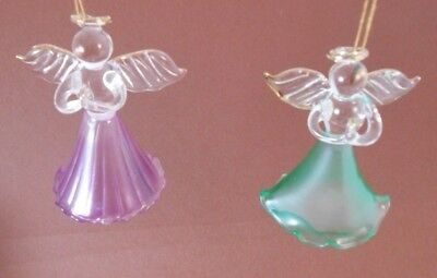 Xmas Ornaments Two Blown Glass Praying Angels With Golden Halos