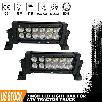 FRONT 2x8inch 36W Flood LED Work Light Bar Driving Offroad UTE Fog Lamp JEEP 4WD