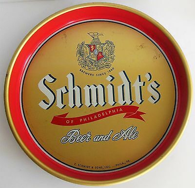"Schmidts Beer Metal 13"" Vintage Tray Red Gold Navy Philadelphia Ale Bar Server"