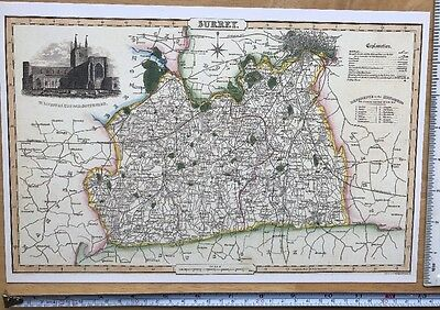 Historical Antique 1840 Pigot Old Victorian Colour Map of Wiltshire Reprint