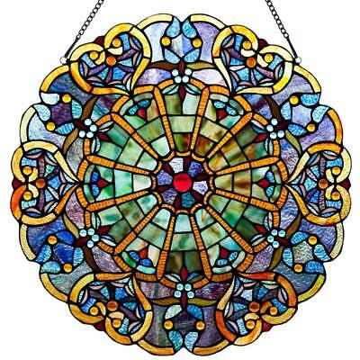 Victorian Style Stained Glass Panel Antique Art Webbed Heart Deco Window Hanging