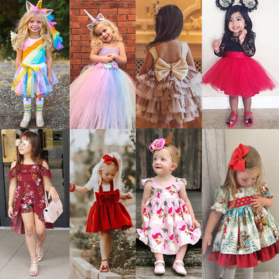Christmas Toddler Baby Girl Floral Lace Dress Wedding Party Princess Dress Lot