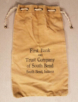 Vintage First Bank & Trust of South Bend, Indiana Deposit Coin Canvas Bank Bag