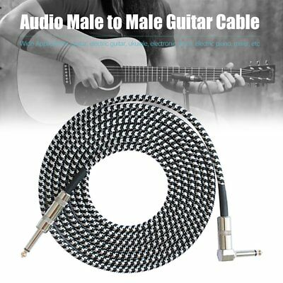 3M Guitar Lead 1 Right Angle Jack Noiseless Braided Tweed Instrument Cable 2T
