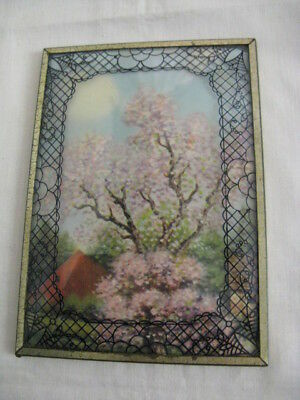 Vintage Silhouette Pink Dogwood Tree Bubble Glass Picture