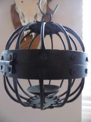 Antique Gothic Style Black Wrought Iron Ball Hanging Candle Holder Home Garden