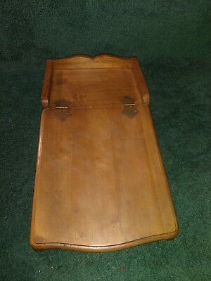"Vintage Wooden Lap Desk Portable Travel Desk Slanted Folding Top 19""x4.75""X10"""