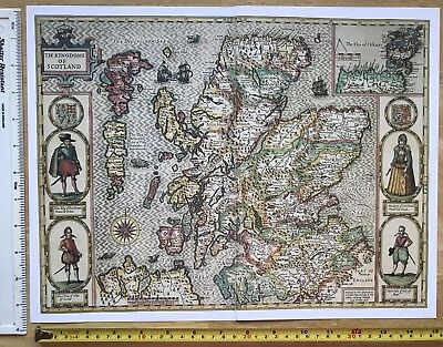 Old Antique Historic Tudor map Scotland: John Speed 1600's Reprint inc Orkney