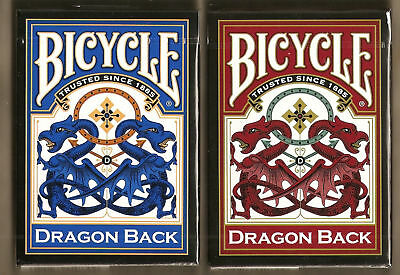 2 DECKS RED-BLUE Bicycle Dragon Back playing cards FREE USA SHIP!