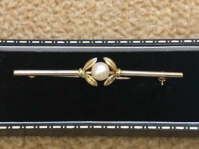 Vintage Mikimoto Brooch In 14Ct Yellow Gold 6Mm Akoya Pearl