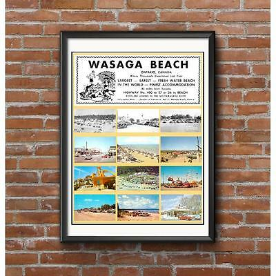 Wasaga Beach Tribute Poster - Beach Stores Amusement Park Vintage Cars History