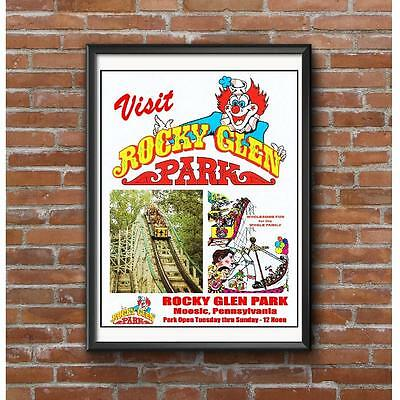 Rocky Glen Park Poster - Moosic Pennsylvania Amusement Park Roller Coaster