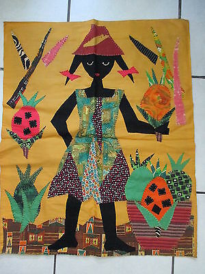 """Vintage 27"""" x  34"""" Hand Stitched Wall Hanging Textile Girl w/ Pineapples"""