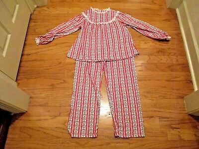 Girls 2 pc LANZ OF SALZBURG Flannel Pajamas XL 14 16 Tyrolean Red striped  lace 5d20250f9