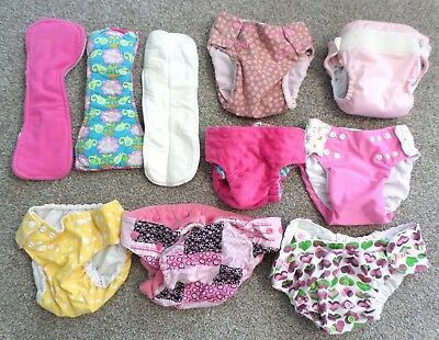 Lot of 7 Girls Cloth Diapers + 3 Inserts Small Medium Bum Genius RumpSack Others