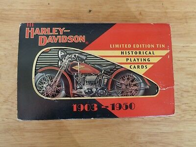 Harley Davidson Historical Playing Cards Limited Edition Numbered Tin 1903-1950