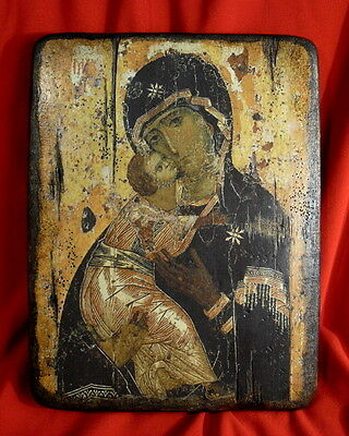 Handmade copy ancient icon ORTHODOX CHURCH Prayer ICON Mother of God Vladimir 7M